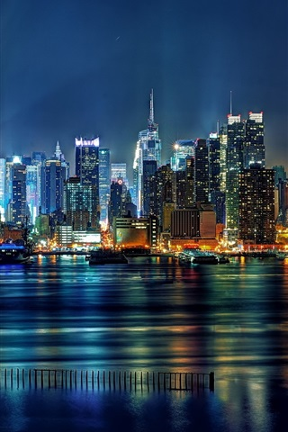 iPhone Wallpaper United States, New Jersey, Union Hill, New York City, buildings, lights