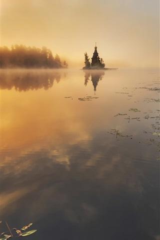 iPhone Wallpaper Vuoksi River, Russia, autumn, trees, sunrise, mist