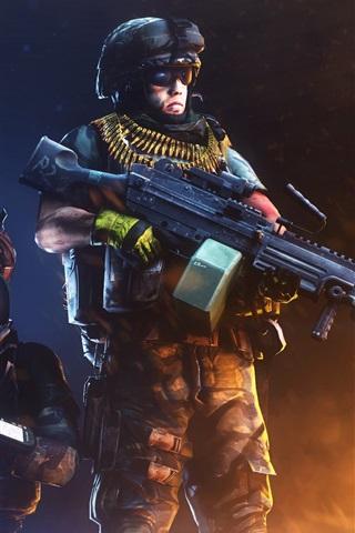 iPhone Wallpaper Battlefield 3, soldiers, weapon