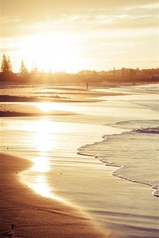 iPhone Wallpaper Beach, sand, waves, sunlight, sea