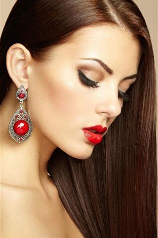 iPhone Wallpaper Beautiful makeup girl, earring, fashion
