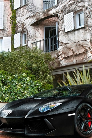 iPhone Wallpaper Black Lamborghini LP700-4 Aventador supercar, house
