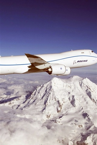 iPhone Wallpaper Blue sky, Boeing 747 aircraft, mountains, clouds