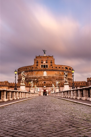 iPhone Wallpaper Castel Sant'angelo, Rome, Italy, paving stone, sculpture