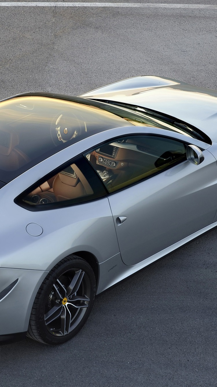 Ferrari Ff Silver Gt Supercar Top View 750x1334 Iphone 8 7 6 6s Wallpaper Background Picture Image