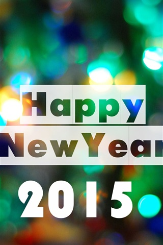 iPhone Wallpaper Happy New Year 2015, colorful lights