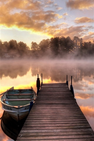 iPhone Wallpaper Lake, morning, fog, bridge, boat, trees, sunrise