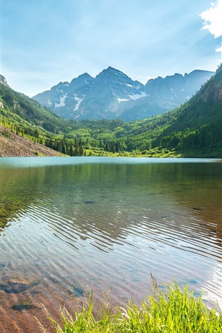 iPhone Wallpaper Lake, mountains, trees, grass, sky, water reflection
