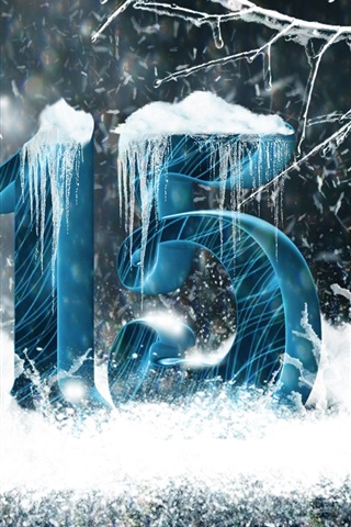 iPhone Wallpaper New Year 2015, snow, icicles