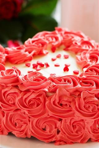 iPhone Wallpaper Pink flowers cake, rose, petals