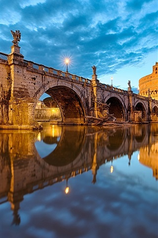 iPhone Wallpaper Rome, Italy, Vatican, St. Angelo Bridge, lights, river