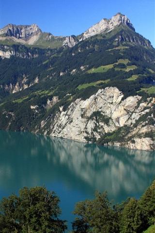 iPhone Wallpaper Switzerland, Morschach, mountains, lake, nature scenery