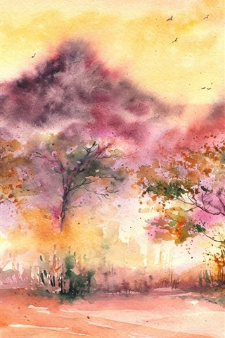 iPhone Wallpaper Watercolor painting, landscape, trees, birds, leaves, grass