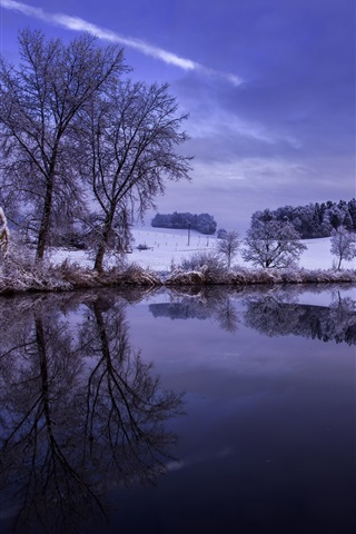 iPhone Wallpaper Winter, snow, trees, hills, river, sky, reflection, dusk