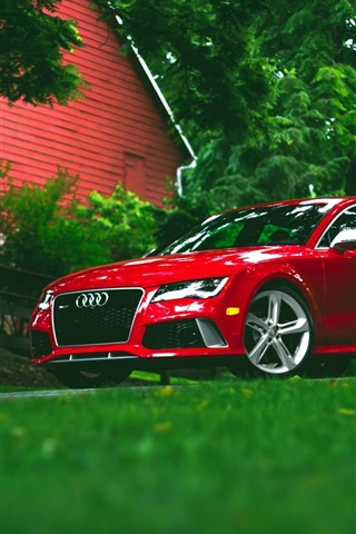iPhone Wallpaper Audi RS7 red car front view