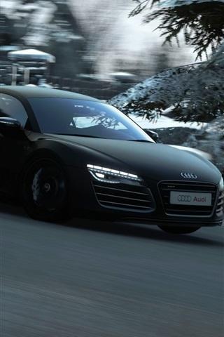 iPhone Wallpaper Audi black car speed