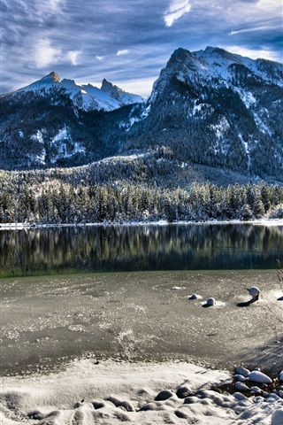 iPhone Wallpaper Bavaria, Germany, lake, trees, mountains, winter, snow