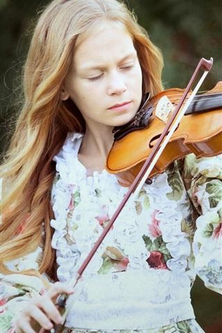 iPhone Wallpaper Blonde girl, violin, music