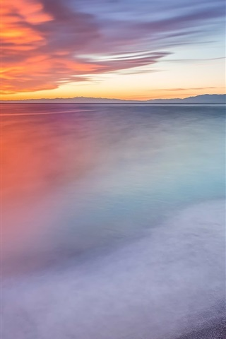 iPhone Wallpaper Camogli, Italy, sea, dusk, buildings