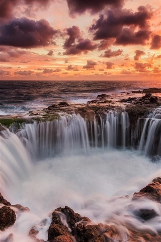 iPhone Wallpaper Canary Islands, Spain, sea, sunset, waterfalls, red sky