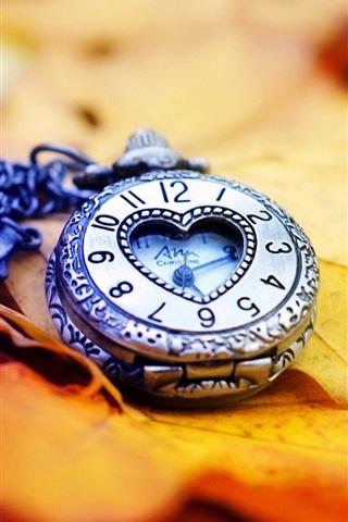 iPhone Wallpaper Clock, watch, leaves, autumn, love heart