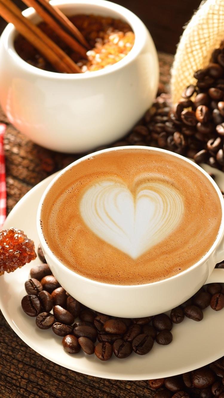 カップ コーヒー 愛の心 ミルク ココア 750x1334 Iphone 8 7 6 6s