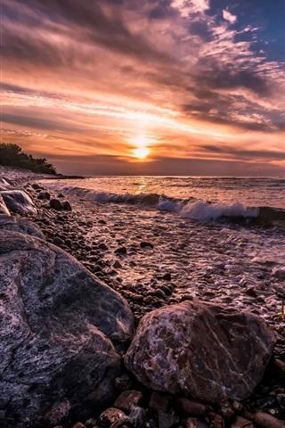 iPhone Wallpaper Denmark, coast, sea, surf, rocks, sunset