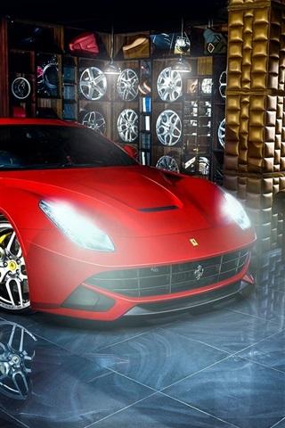 Ferrari F12 Red Supercar Wheels Indoor 640x1136 Iphone 5 5s 5c Se