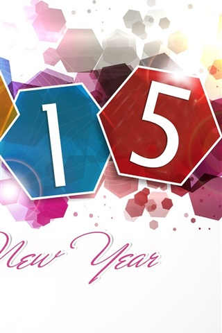 iPhone Wallpaper Happy New Year 2015, colorful design