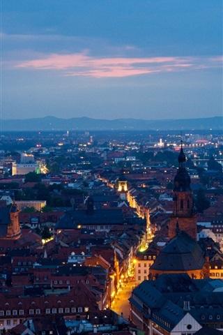 iPhone Wallpaper Heidelberg, Germany, city, evening, houses, streets, lights