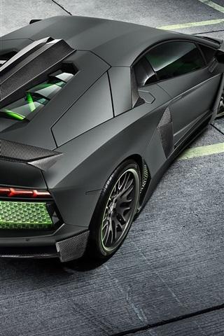 Lamborghini Aventador Lp700 4 Black Supercar Back View 640x1136