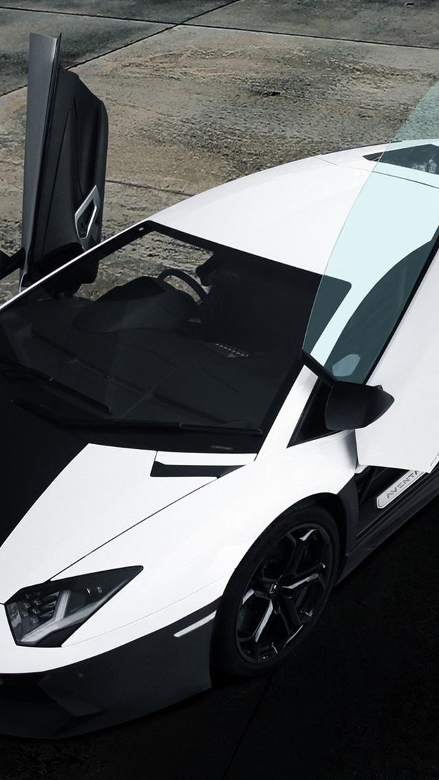 Wallpaper Lamborghini Aventador Black White Supercar Top