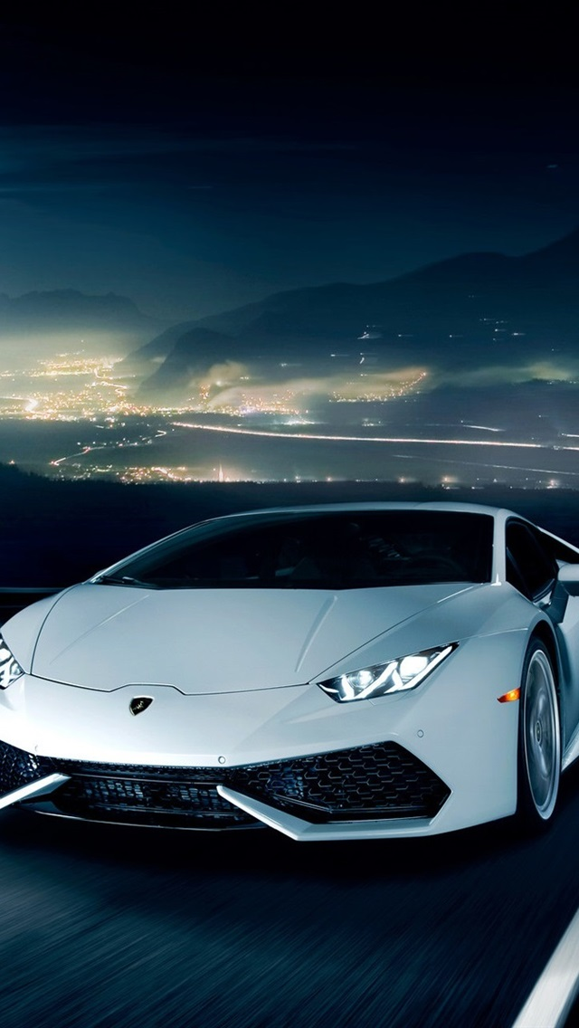 Lamborghini Huracan Lp610 4 White Supercar Road Night