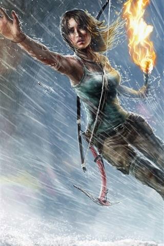 iPhone Papéis de Parede Lara Croft, Tomb Raider, jogo para PC, menina, chuva