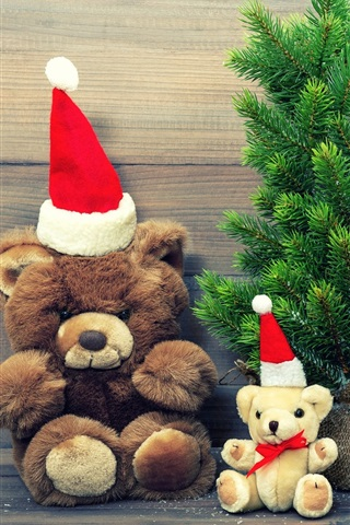 iPhone Wallpaper Merry Christmas, hat, decoration, teddy bear