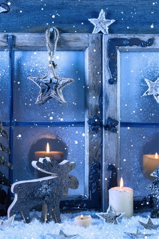 iPhone Wallpaper Merry Christmas, window, snowflakes, candles, winter, snow