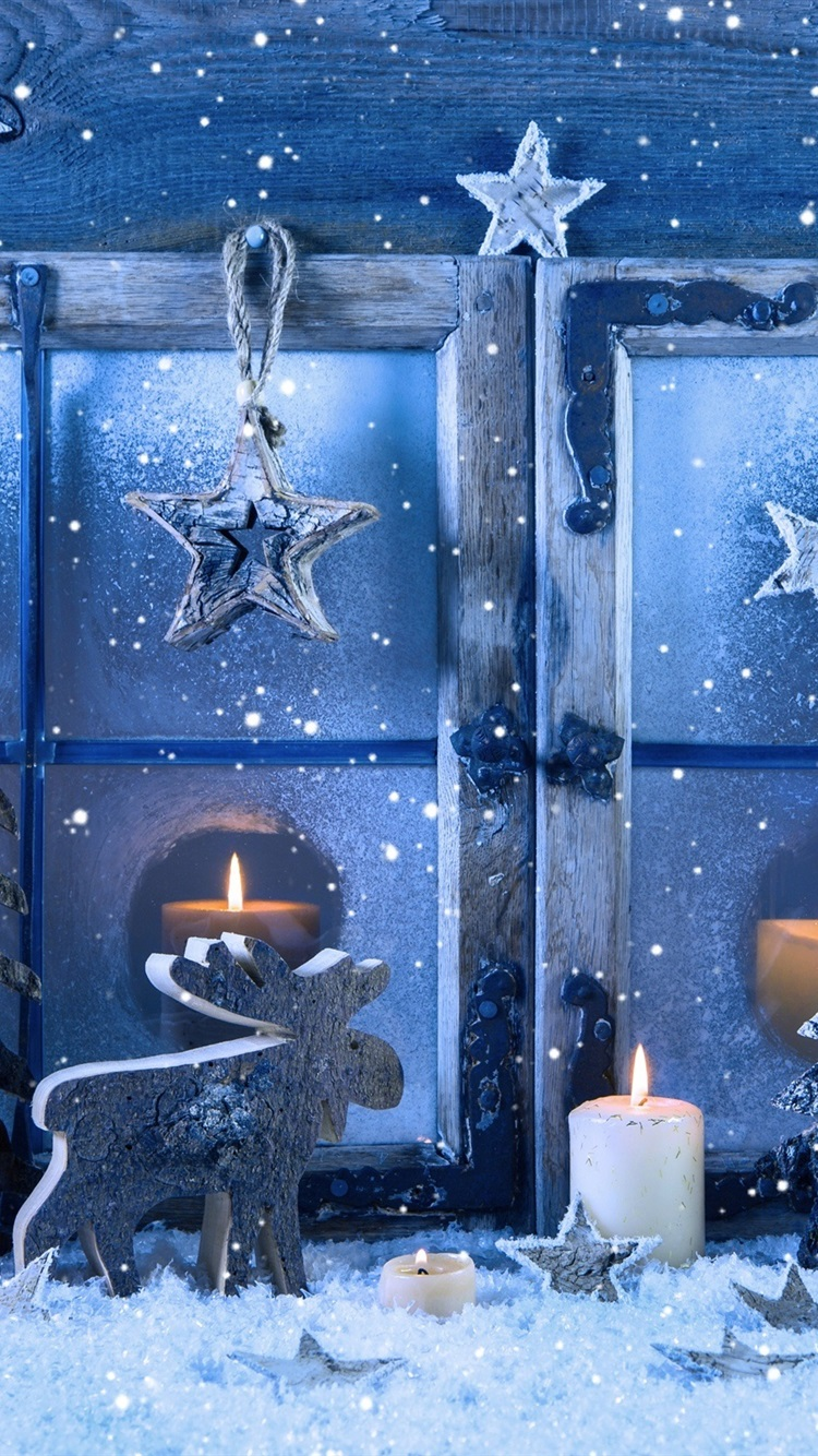 Merry Christmas Window Snowflakes Candles Winter Snow