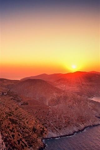 iPhone Wallpaper Mountains, houses, sunrise, sea, Greece