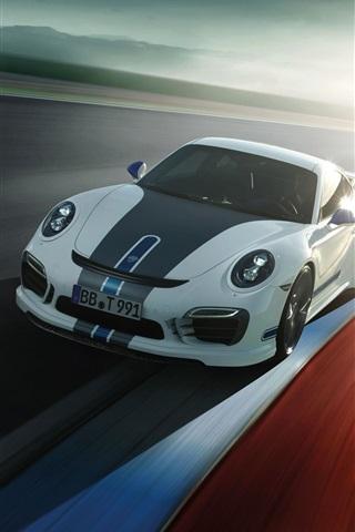 iPhone Wallpaper Porsche 911 Turbo supercar, sunlight