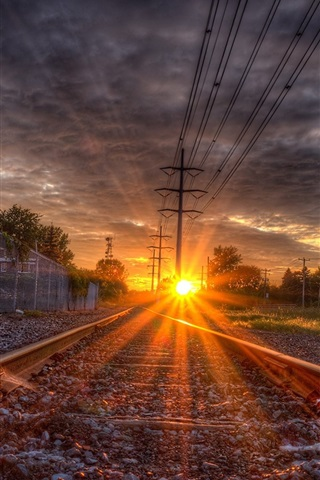 iPhone Wallpaper Rail, rails, sleepers, sunset, glare