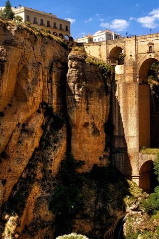 iPhone Wallpaper Ronda, Andalusia, Spain, mountains, rocks, houses, bridge, arch, canyon