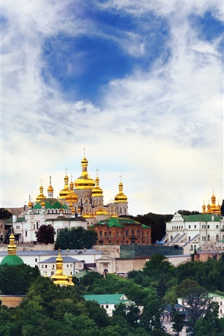 iPhone Wallpaper Ukraine, temple, monastery, city, sky, clouds