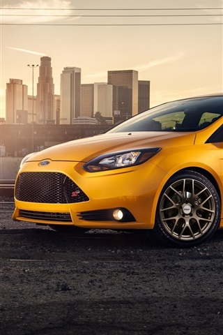 Yellow Ford Focus St Car Side View 640x960 Iphone 4 4s Wallpaper
