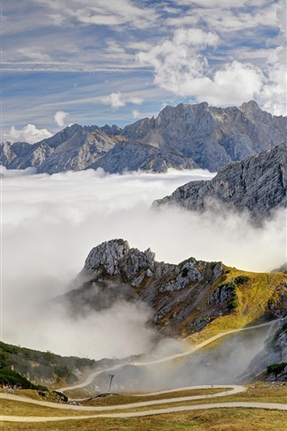 iPhone Wallpaper Alps, mountains, road, trees, sky, clouds, fog, Bavaria, Germany