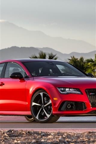 iPhone Wallpaper Audi RS7 red V8 car