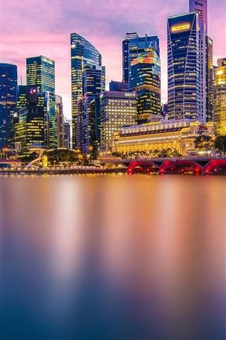 iPhone Wallpaper Beautiful city, Singapore, evening, lights, skyscrapers, bridge, bay