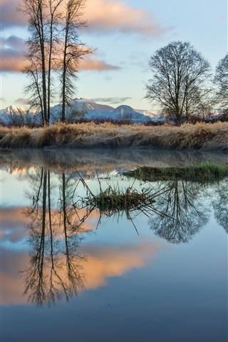 iPhone Wallpaper British Columbia, Canada, lake, trees, mountains, grass