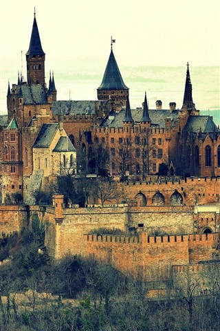 iPhone Wallpaper Burg Hohenzollern Castle, Germany, mountain
