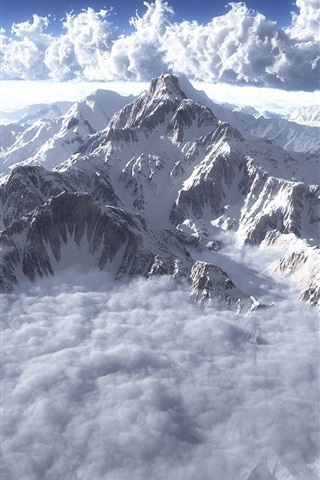 iPhone Wallpaper Clouds, mountains, sky, fog, snow, winter