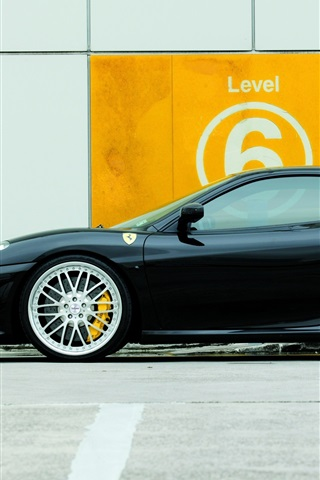 iPhone Wallpaper Ferrari F430 black supercar side view